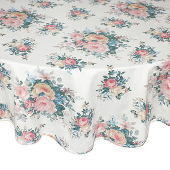 100% cotton round tablecloth with rose Bouquet print