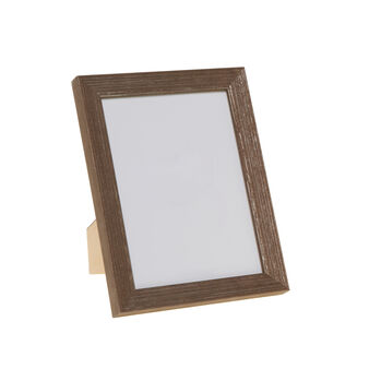 Wooden photo frame with silver-effect finish