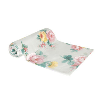100% cotton throw with rose print
