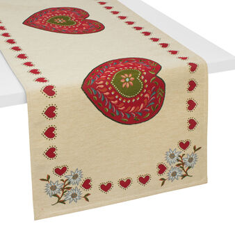 Gobelin table runner with Hearts pattern