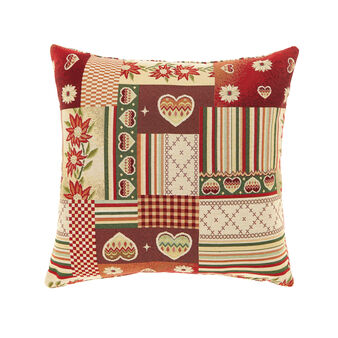 Gobelin cushion with patchwork pattern