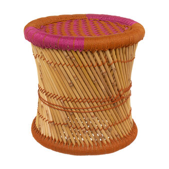Biri wicker and cord pouf. Handmade