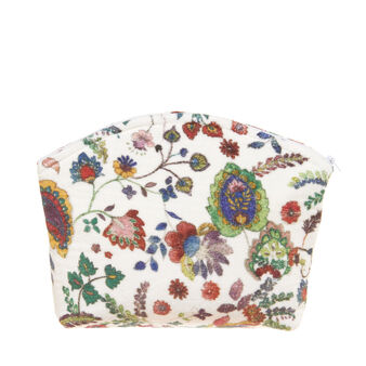 Floral terry velour cosmetic bag in 100% cotton