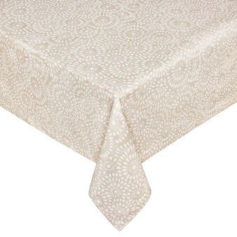 Cotton tablecloth with lace-effect print