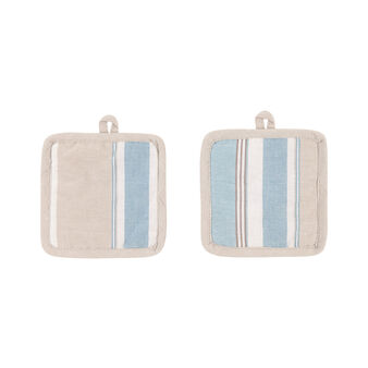 Set of 2 small pot holders in 100% striped cotton