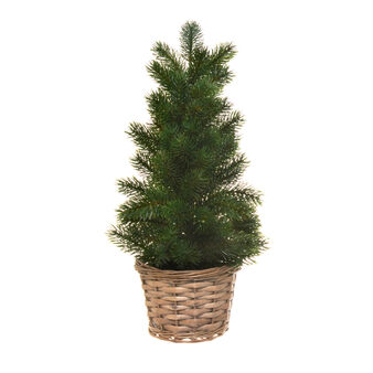 Small Christmas tree with wicker basket