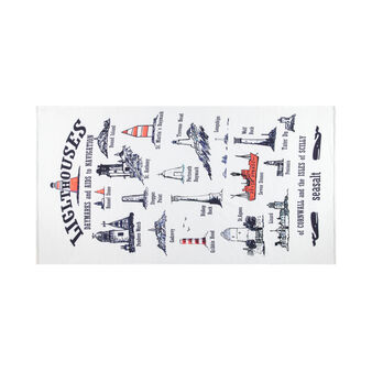 Beach towel in 100% cotton with lighthouse print
