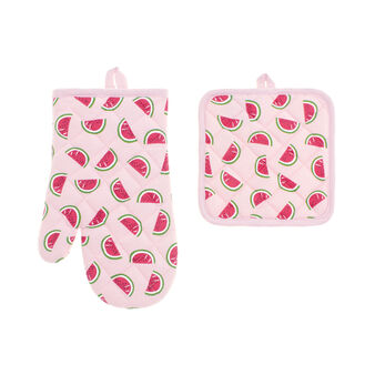Watermelon oven mitt and pot holder set in 100% cotton