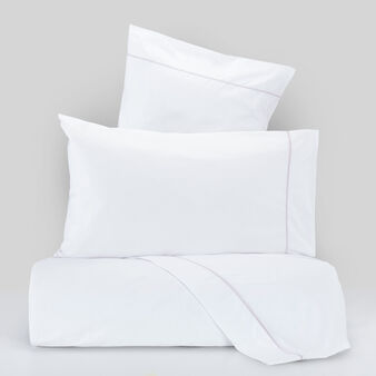 Percale bed linen set with contrasting colour cord