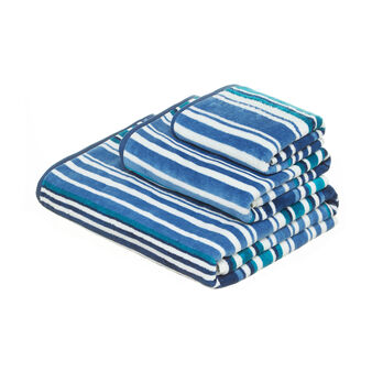Yarn-dyed, striped velour towel