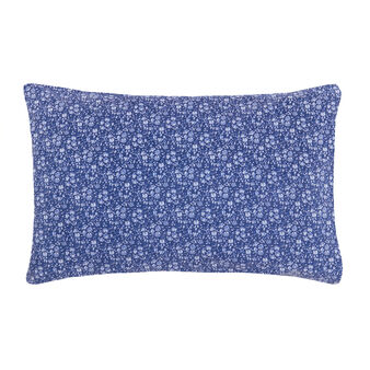 Denim-effect cotton pillowcase with print