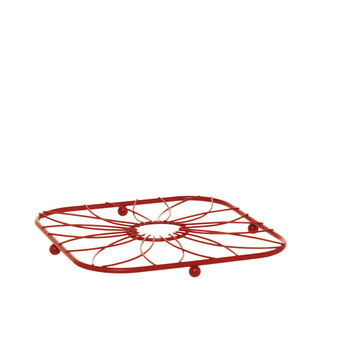 Square trivet in red iron