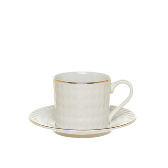 Tea cup in fine bone china with diamond-shaped decoration