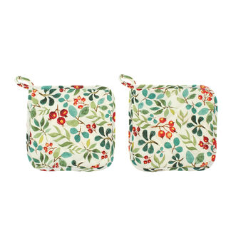 Set of two pot holders with Happy Berries print