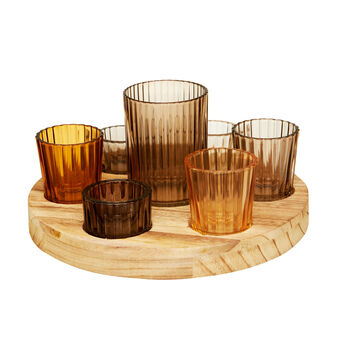 Wooden tray with votive holder