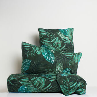 Dark tropical leaf bed linen range in 100% cotton percale