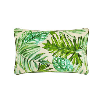 100% cotton cushion with tropical leaf print