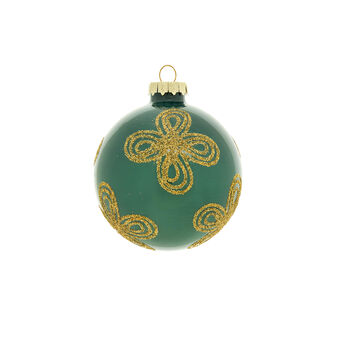 Peacock-coloured glass bauble with glitter D 8cm