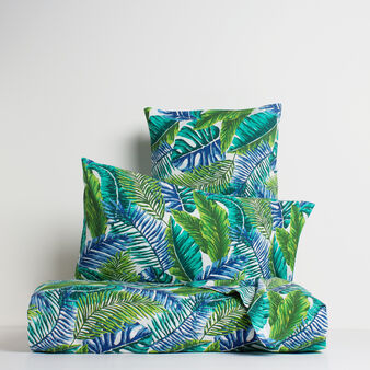 Tropical leaves flat sheet 100% cotton percale