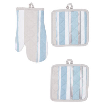 Set of 2 pot holders and oven mitt in 100% striped cotton