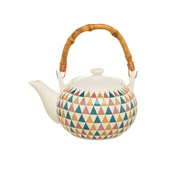 Porcelain teapot decorated with bamboo handle