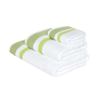 Terry towel with waffle-weave edge in contrasting colour