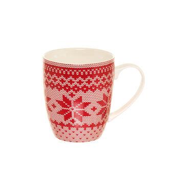 Mug in porcellana decorazione fiocchi di neve