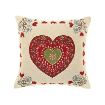 Gobelin cushion with hearts pattern