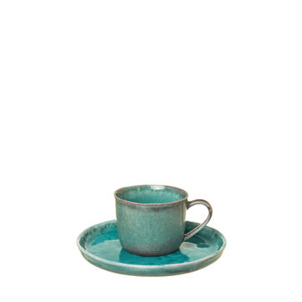Light blue porcelain coffee cup and saucer