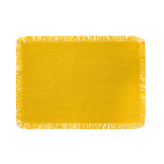 Cotton table mat with fringed trim