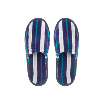 100% cotton velour slippers with striped pattern