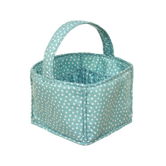 Storage basket in 100% cotton with star print