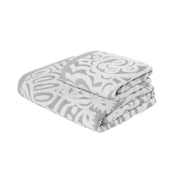 Towel in 100% cotton with velvet decoration