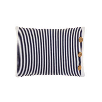 Rectangular navy-style cushion in 100% cotton with buttons