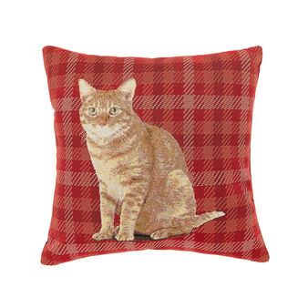 Gobelin check cushion with cat