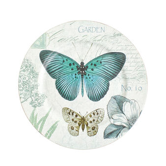 Plastic charger plate with butterfly design