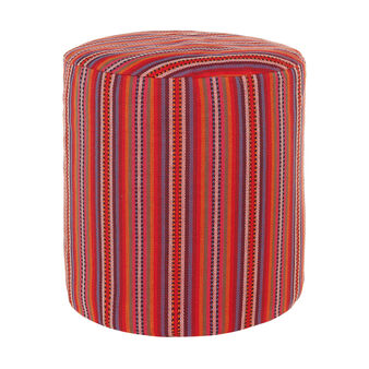 Patterned and upholstered oval pouf