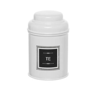 White metal TEA jar with lid