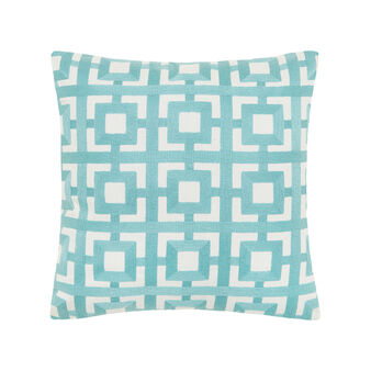 Cushion with geometric pattern in contrasting colour