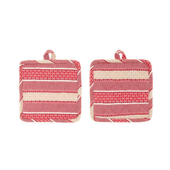 Set of two 100% cotton pot holders with striped jacquard weave