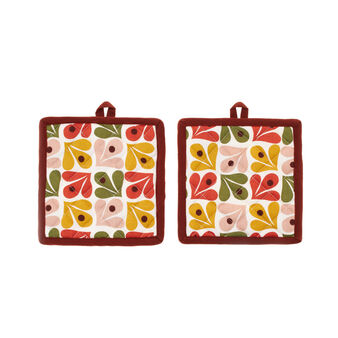 Two-pack 100% cotton pot holders with Geometric print