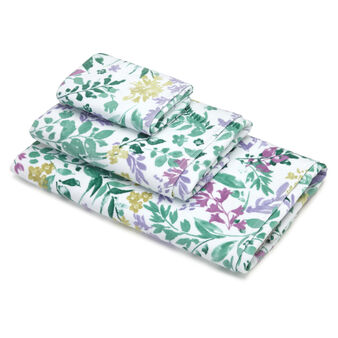 100% cotton velour towel with botanical pattern