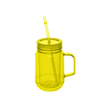 Plastic jam jar mug with straw