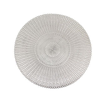 Round table mat in silver plastic