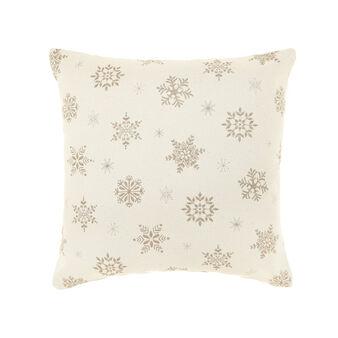 Cuscino in puro cotone fantasia fiocchi di neve