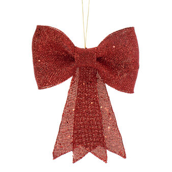 Red glitter decorative bow