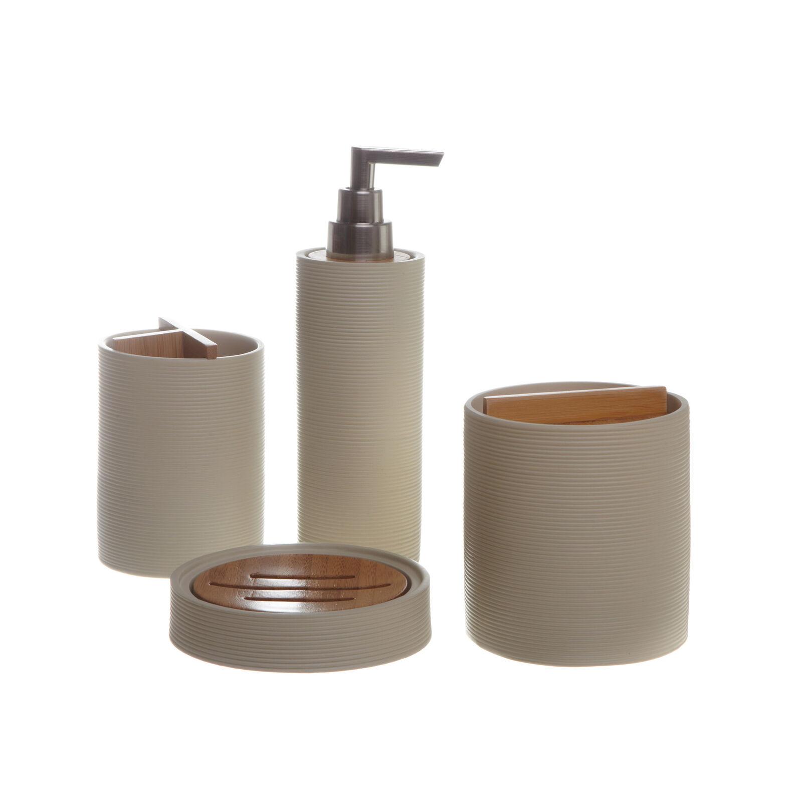 Set bagno poliresina legno coincasa - Accessori bagno in legno ...
