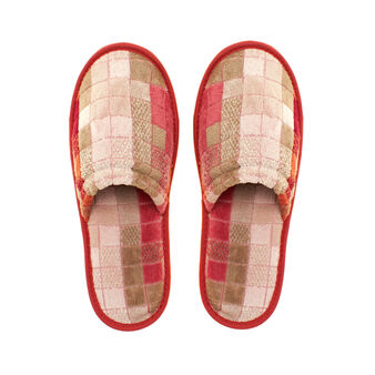 Slippers in 100% cotton with jacquard mosaic design