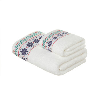 Set consisting of solid colour face towel and guest towel in 100% cotton terry with Christmas motif