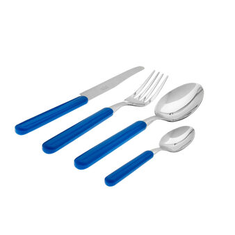 24-piece cutlery set in steel with coloured handles